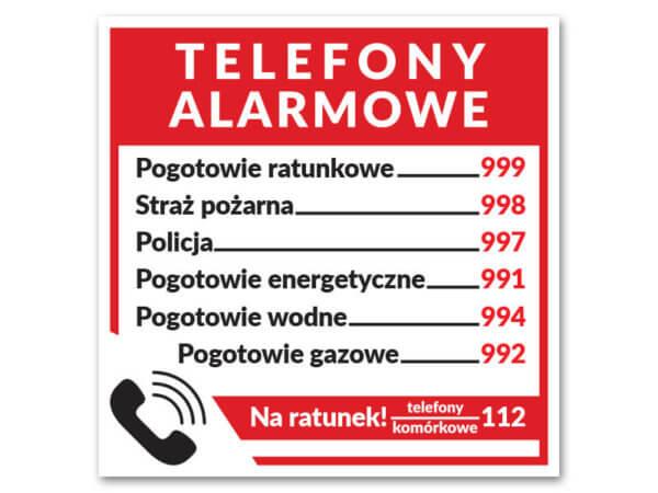 telefony alarmowe naklejka