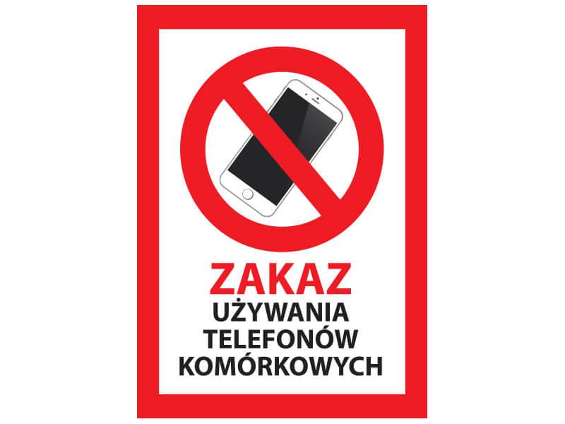 naklejka zakaz uzywania telefonów komórkowych
