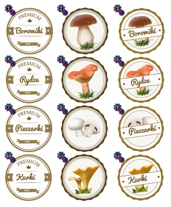 Naklejki na słoiki z grzybami
