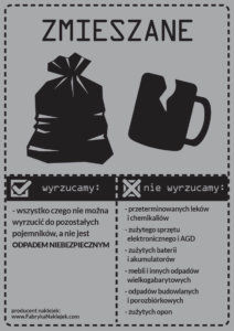 naklejka odpady zmieszane