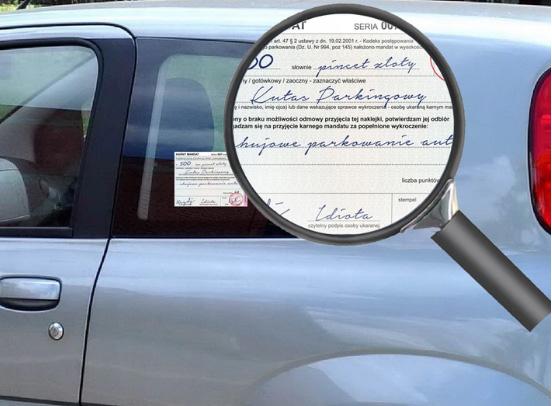 mandat za parkowanie naklejka