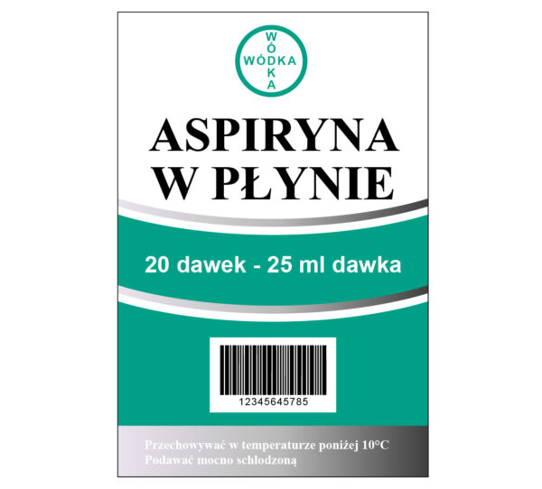 naklejki na wódke aspiryna w płynie