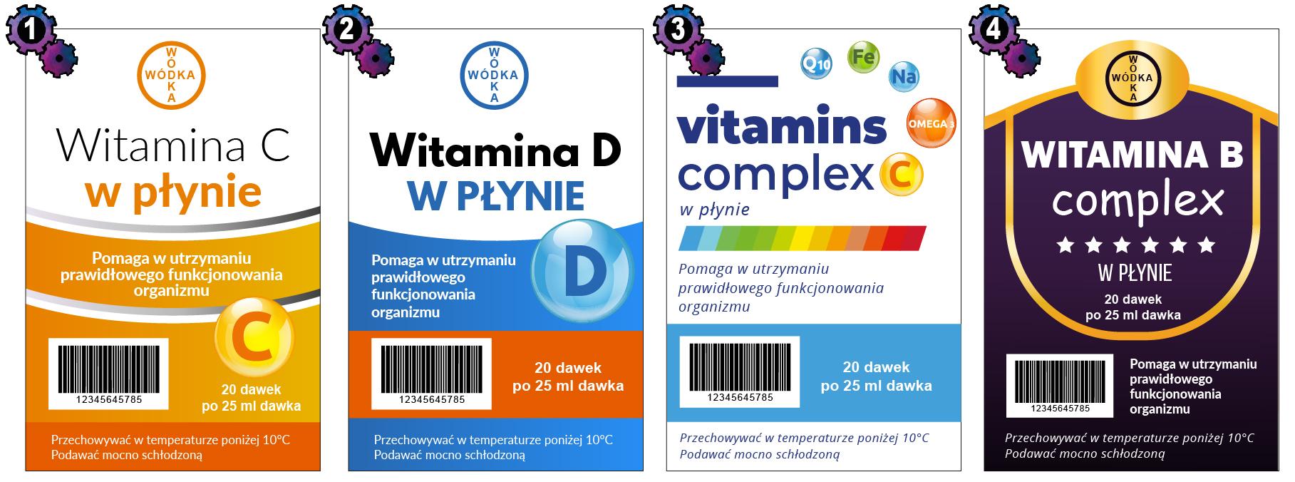 etykiety na wódkę witaminy