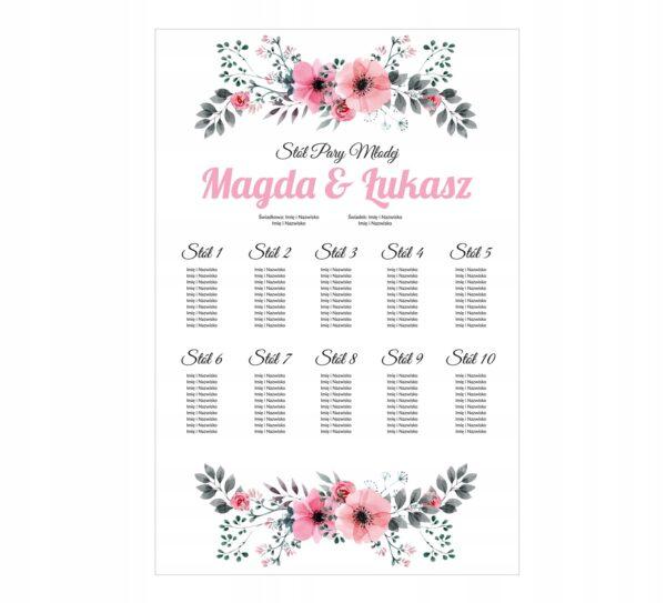 plakat weselny plan stołów